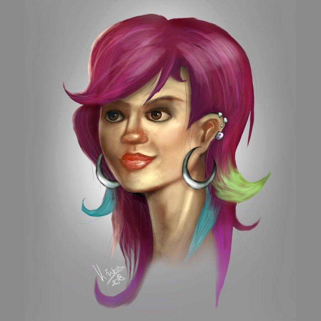 punk lány portré