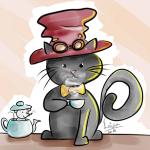 inktober 2018 fekete macska illusztráció
