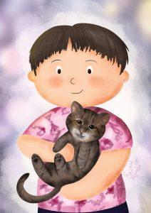 Egyedi ajándék cicás portré