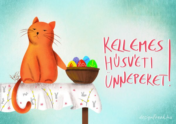 húsvéti vicces grumpy cat képeslap