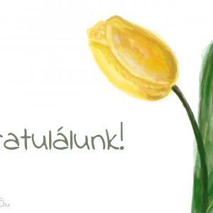 sárga tulipán képeslap