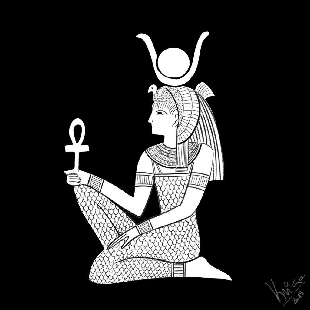egyiptomi dombormű illusztráció