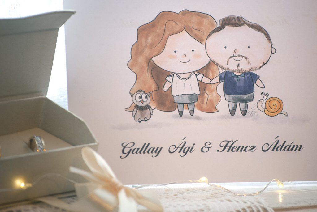 egyedi esküvői meghívó, rajzos illusztrációval