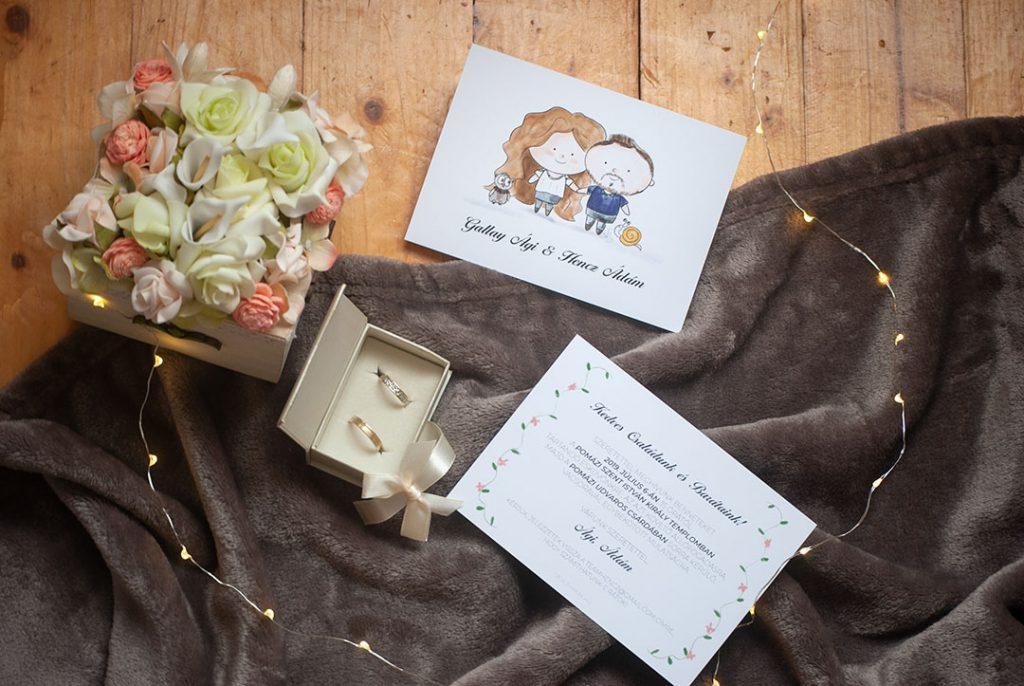 egyedi esküvői meghívó illusztrációval