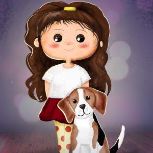 Ajándék ötlet kutyás gazdiknak - kislány beagle kutyával