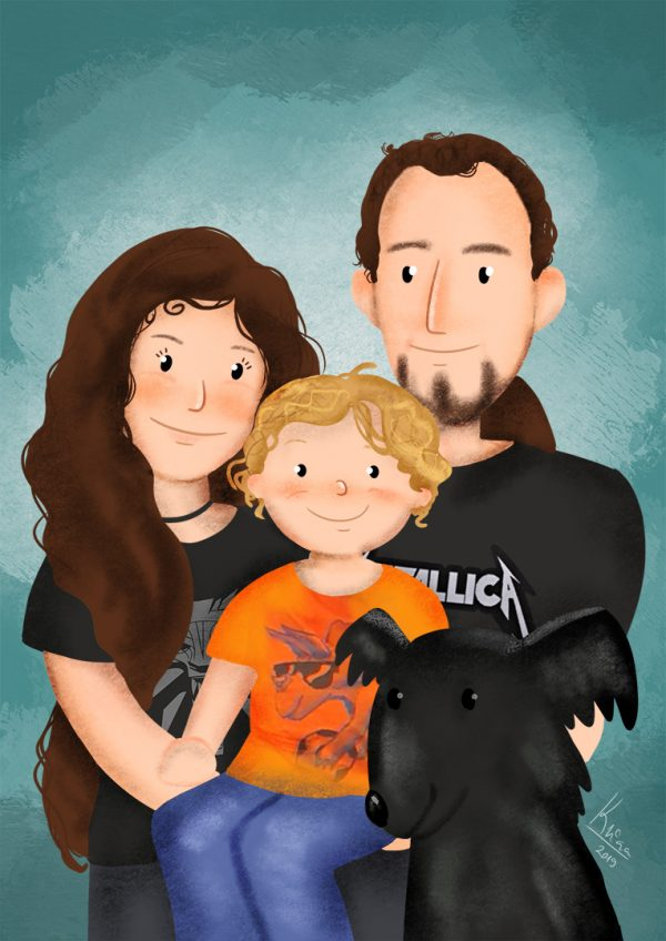 cuta hand drawn custom family portrait for dog lovers